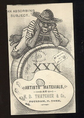 1880-90S Trade Card With Black Theme, Artists Materials H D Thatcher, Potsdam Ny