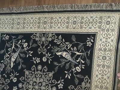 Flemish Tapestry 100%cotton Navy Blue Light Gold Wedgwood Blue Birds Flowers