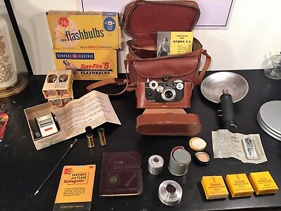 Argus C-3 Rangefinder Camera with Case And LOADS of Accessories