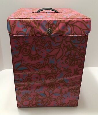 1960's Vintage Mod Pink Blue Gold psychedelic Wig Case With Head