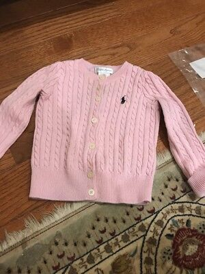 Ralph Lauren Cardigan Sweater Girl Baby 18 Months Pink Cable Logo