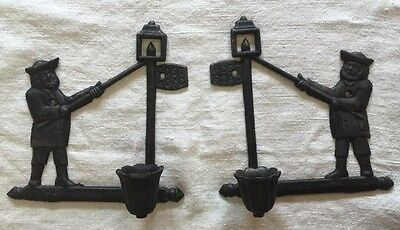 pair solid cast iron antique post road figural wall candle holder light sconce