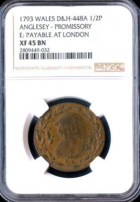 1793 BRITISH WALES ½ PENNY CONDER TOKEN, ANGLESEY DH448a, RR!!