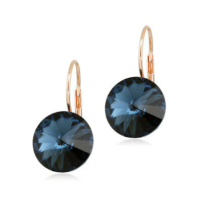 62535acb6 Large 15 MM Round Bella Earrings Blue Swarovski Crystal Rose Gold Plated  Bezel