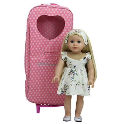 """3 18"""" Modern Doll Blonde Case Clothes American Girl Our Generation Journey Girl"""