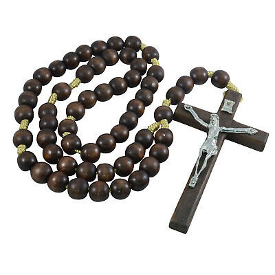 Brown Wooden Beads Religious Necklace Hang Wall Rosary Jesus On Metal Cross