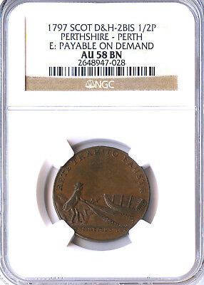 """1790's SCOTTISH CONDER TOKEN, """"NEW FINDING"""", PERTHSHIRE DH 2 Bis, NGC AU58, RRR"""