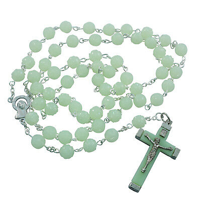 Glow in the Dark Religious ROSARY Beads Necklace With Crucifix in Gift Box
