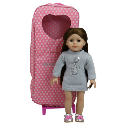 """6 18"""" Modern Doll Brown Case Clothes American Girl Our Generation Journey Girl"""