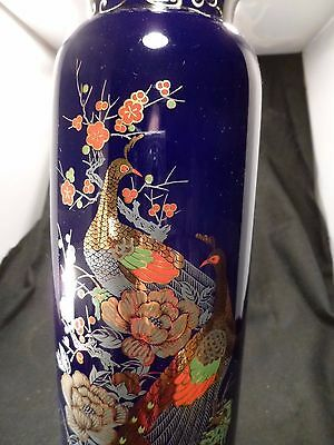 Vintage Gold Kutani Vase PEACOCK Cobalt Blue GOLD BIG Hand Painted Japan 10 3/4""