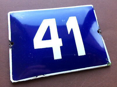 ANTIQUE VINTAGE EUROPEAN ENAMEL SIGN HOUSE NUMBER 41 DOOR GATE SIGN BLUE 1950's