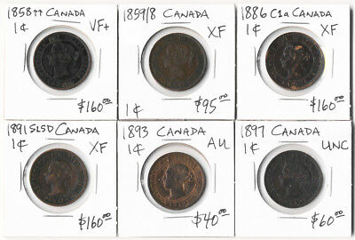 6 Canada Large Cents (1858-1897) Valuable Lot Must See > No Reserve