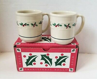 NEW IN BOX Longaberger Traditional Holly Pottery Mugs Set of 2