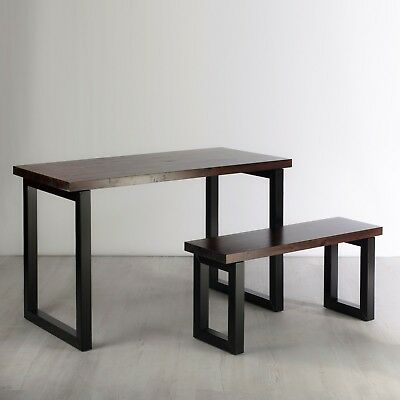 Solid Wood Industrial Desk with Bench - Rustic Jacobian Dark Wood Finish