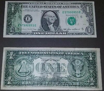 2 Wet ink transfer errors.  2009 front on back AND 1985 back on front $1 FRN