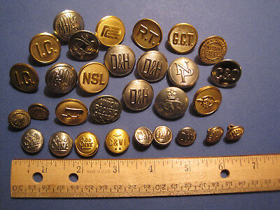 Vintage Group of 30 Railroad Buttons and Covers (large and small sizes)