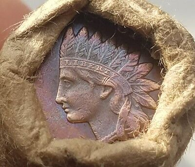 Unsearched wheat cent roll - AU/BU toned IHC & reverse indian head cent ends