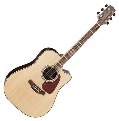 Spitzen Takamine Dreadnought Westerngitarre mit Tonabnehmer in Natural Gloss