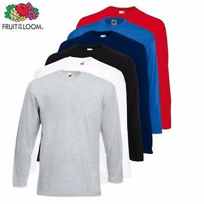 1 3 5 Pack Fruit of the Loom Long Sleeve T Shirt Plain Tee Shirt Top Sale Lot