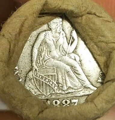 Unsearched wheat cent roll - 1887 seated dime and beautifully toned IHC ends