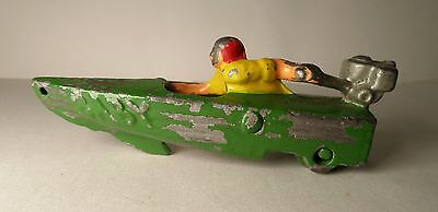 """Hubley Cast Iron Pull Toy """" Baby """" Green & Silver Speed Boat Antique Outboard Ra"""