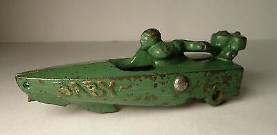 """Hubley Cast Iron Pull Toy """" Baby """" Green Speed Boat Antique Outboard Race Motor"""