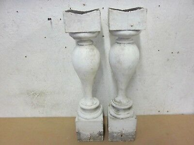 2 Antique Victorian Beefy White Painted Wood Salvaged Porch Spindle Balusters