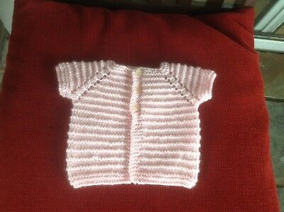 Hand Knit Short Sleeved Baby Girl's Cardigan. Newborn. Soft Pink  3 Buttons.