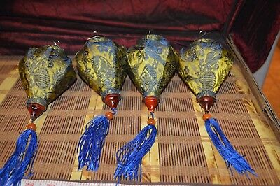 4 Small Asian Blue & Yellow Silk and Bamboo Lanterns