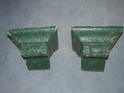 Pair of Antique Victorian Gingerbread Corbels,Chippy Green Paint