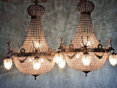 Pair Of 2 Deer Head Chandeliers. Unique Chance! Free Shipping