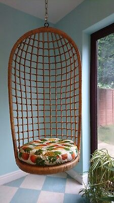 Vintage Ceiling Hanging Rattan Egg Chair 1970s