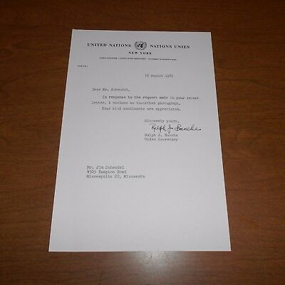 Ralph J. Bunche 1st African American to win Nobel Prize  Hand Signed Letter 1961