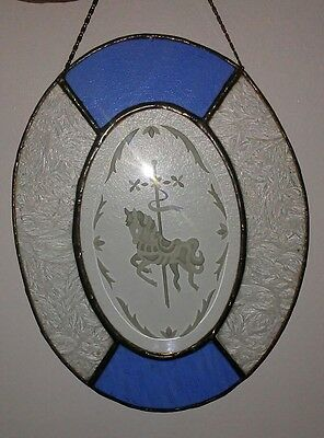 Beautiful Stained & Etched Glass CAROUSEL HORSE Oval Light Suncatcher
