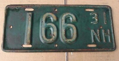 1931 Nh New Hampshire Low Number 166 Boat License Plate Tag
