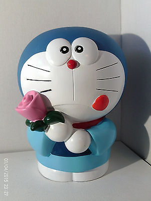 """DORAEMON Coin Bank W Stopper Vintage 1990's Large 9"""" Tall Character Holding Rose"""