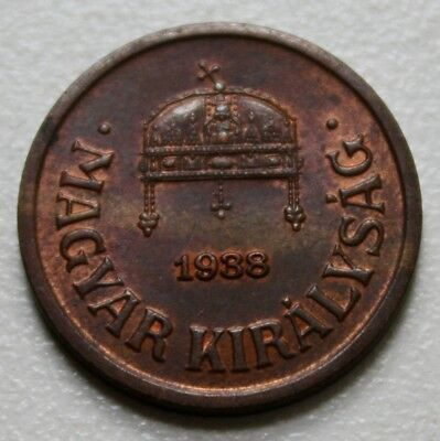 HUNGARY UNGARN, 2 filler fillér, 1938, high grade