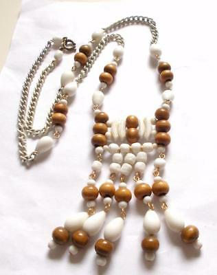 Vintage Art Deco White Enamel Chain Glass Beads Brown Wooden Flapper Necklace