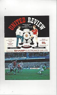 Manchester United v Queens Park Rangers FA Cup 2nd Replay 1988/89 Jan 23rd