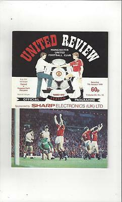 Manchester United v Queens Park Rangers FA Cup 1988/89 Programme Jan 7th