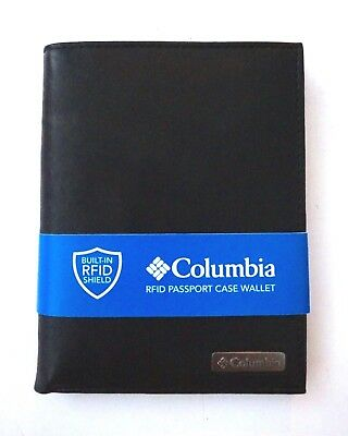 Columbia Nwt RFID Black Logo Leather Bifold Passport Case Wallet