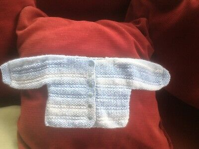 Hand Knit Baby Boy's Cardigan. 0 - 3 Months. Blue/White. Button Fastening.