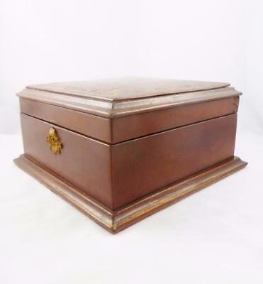 Antique Art Deco Egyptian Revival Leather Jewellery Trinket Sewing Box 1920/30's
