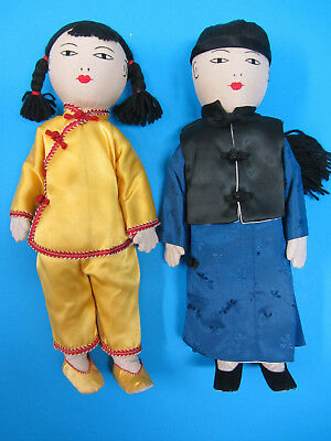 """Chinese Asian Man & Woman Dolls Hand Made 11"""" Tall Vintage Excellent Condition"""