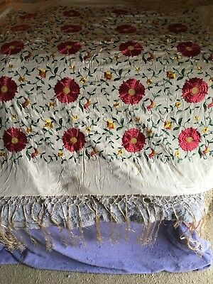 Vintage silk fringed floral embroidered piano shawl scarf