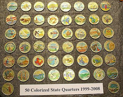 50 colorized state quarters 1999 2008 metallic gold u s coin collection set