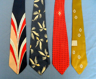 4 Vintage 1940's/1950's Men's Swing Ties Signet Trojan Arrow Damon