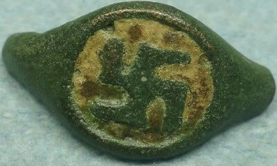 Ancient Bronze Ring Bezel, Swastika