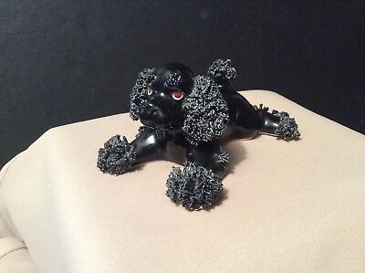 "Vintage Black Spaghetti Poodle Dog - 5"" Stretched Out Puppy - Japan"