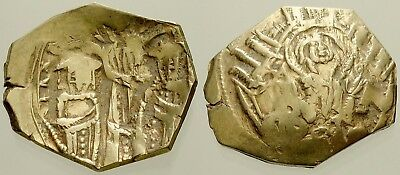 043. Byzantine Coin. ANDR. II & MICHAEL IX. Gold Hyperpyron. Constantinople. F
